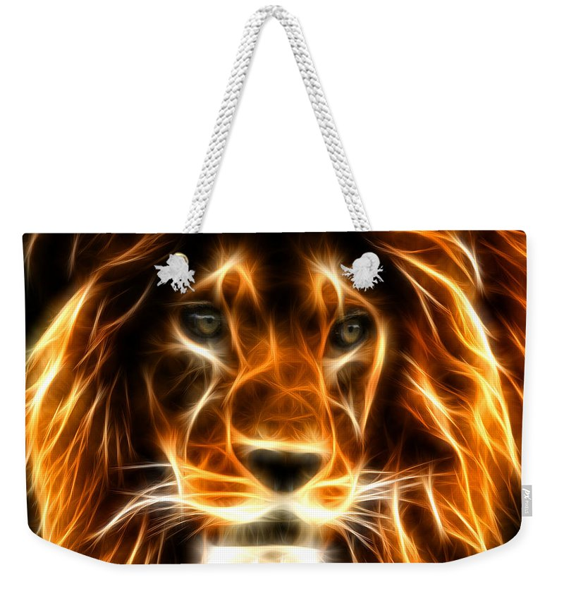 Tiger Weekender Tote Bag featuring the digital art Lion by Mark Ashkenazi