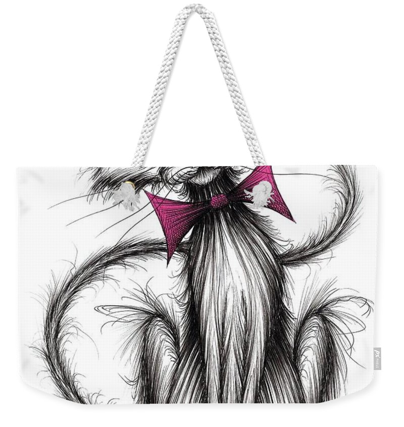 Little Fluffy Weekender Tote Bag featuring the drawing Little Fluffy by Keith Mills