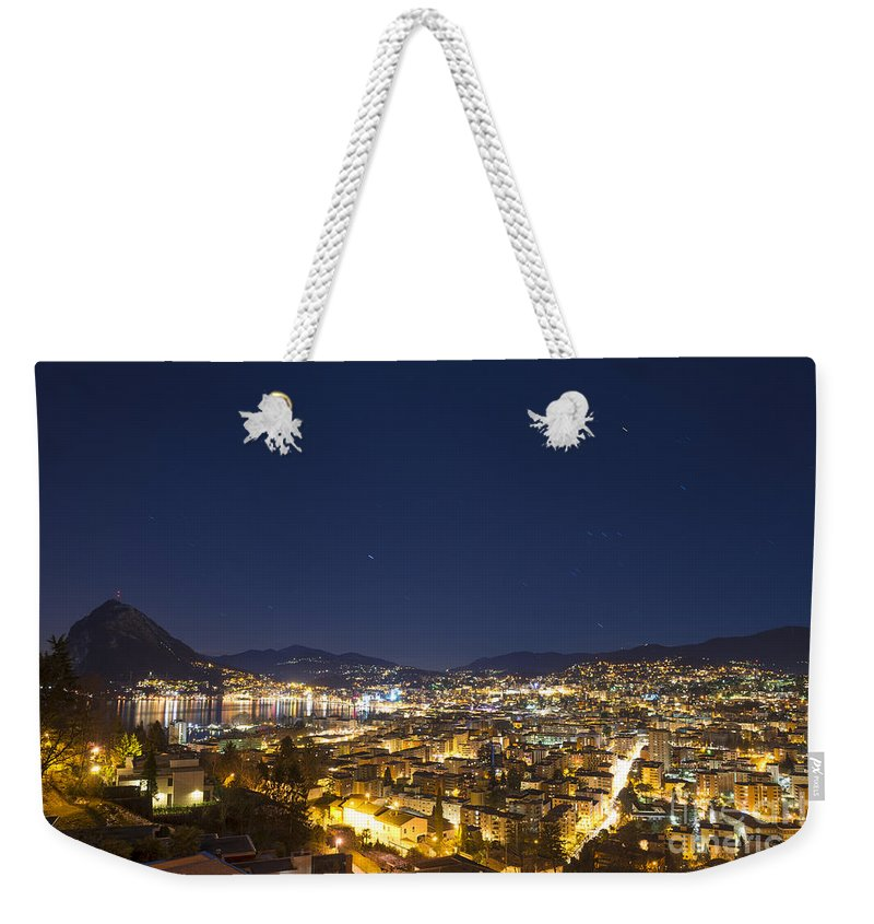 City Weekender Tote Bag featuring the photograph Lugano By Night by Mats Silvan