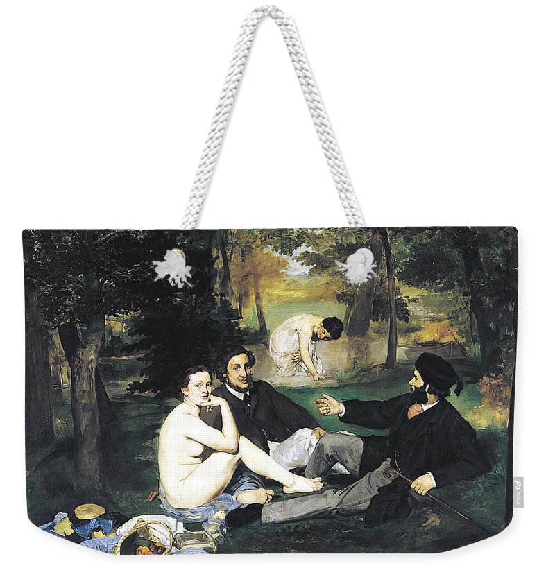 Edouard Manet Weekender Tote Bag featuring the digital art Luncheon On The Grass by Edouard Manet