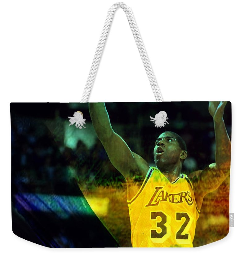 Magic Johnson Paintings Weekender Tote Bag featuring the mixed media Magic Johnson by Marvin Blaine