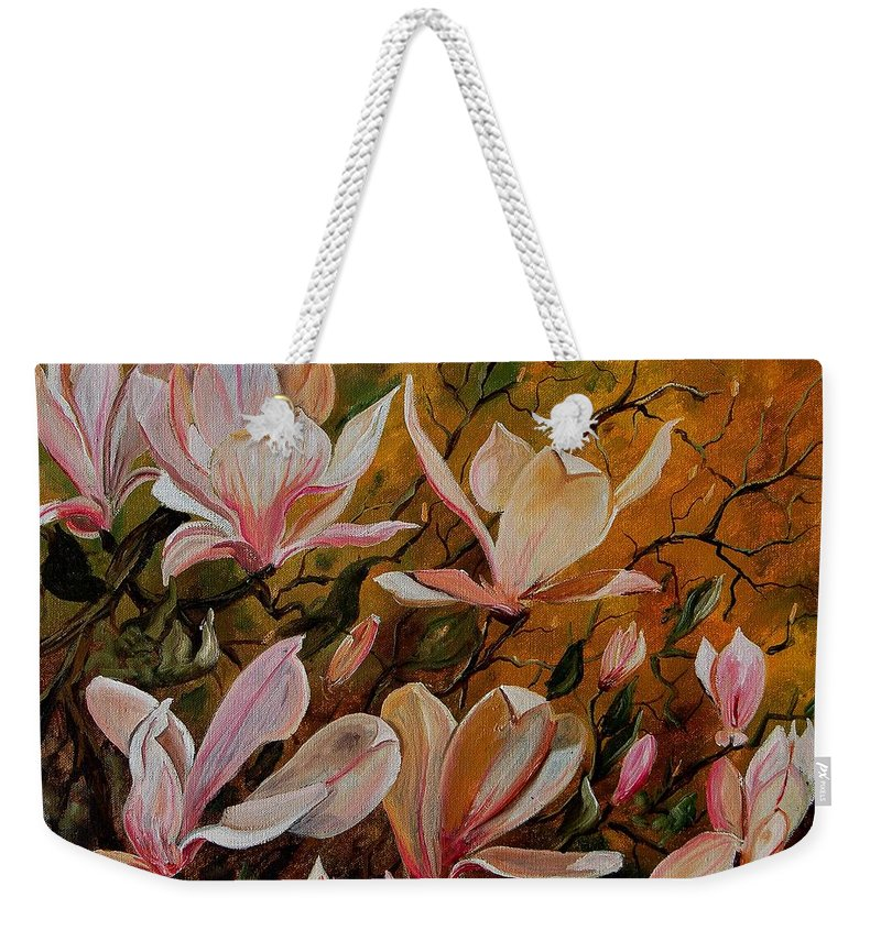 Flowers Weekender Tote Bag featuring the painting Magnolias by Pol Ledent