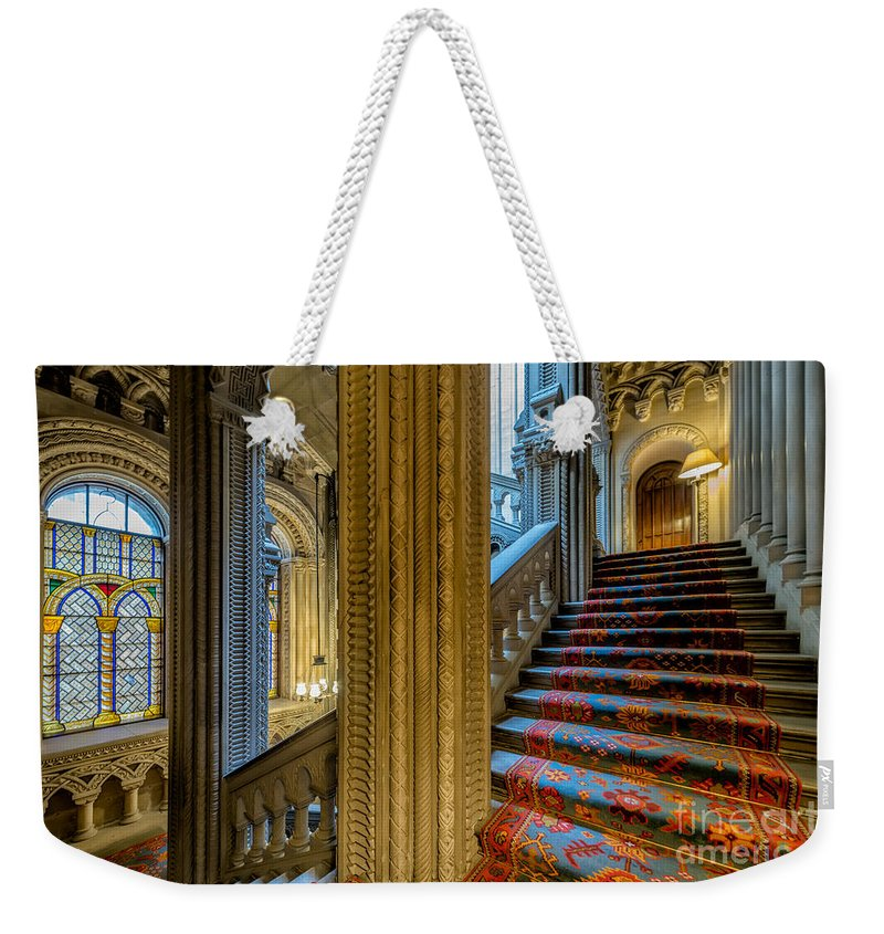 British Weekender Tote Bag featuring the photograph Mansion Stairway by Adrian Evans