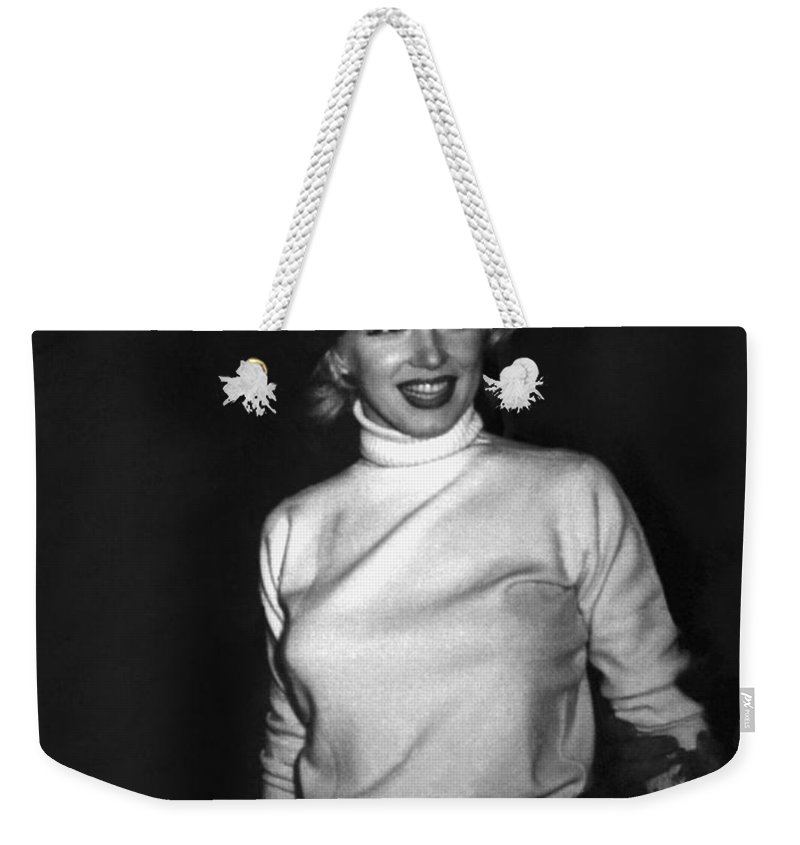 1954 Weekender Tote Bag featuring the photograph Marilyn Monroe In Korea by Underwood Archives