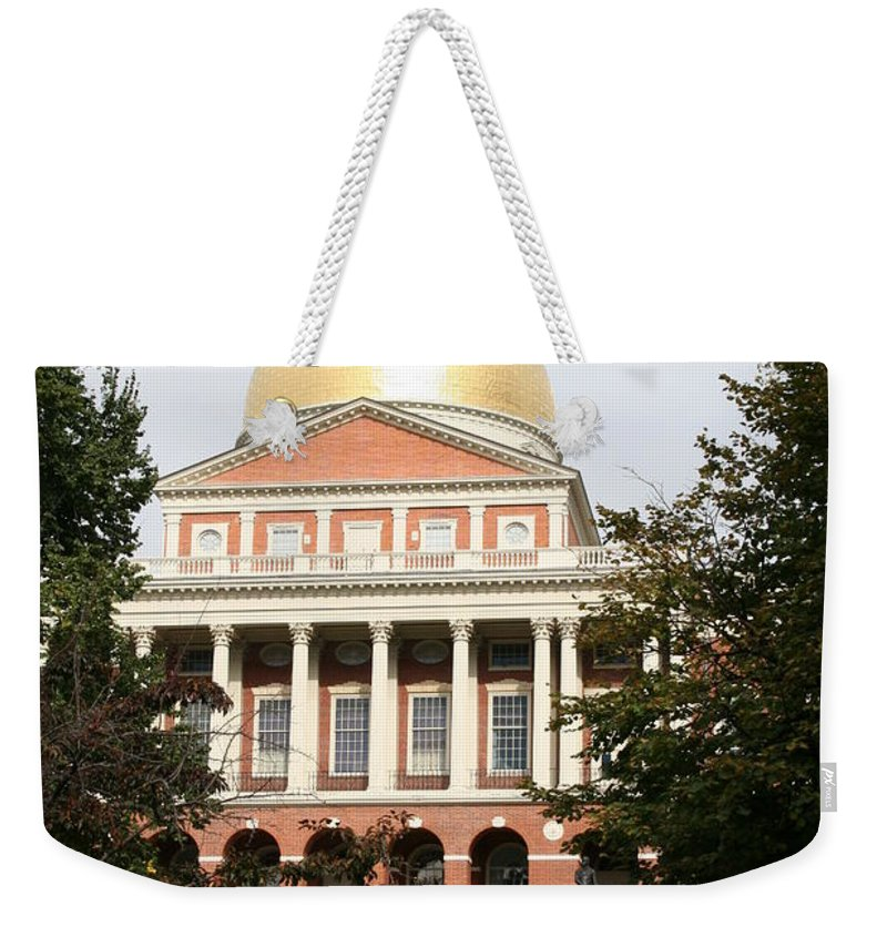 Boston Weekender Tote Bag featuring the photograph Massachusetts State House - Boston by Christiane Schulze Art And Photography