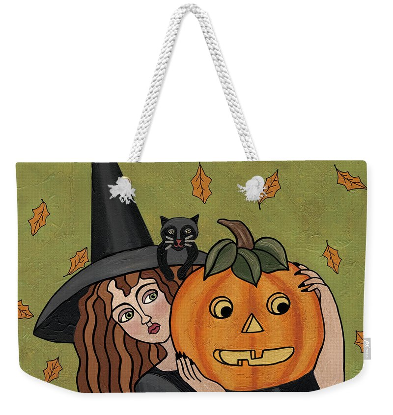 Witch Weekender Tote Bag featuring the painting Matilda by Medana Gabbard