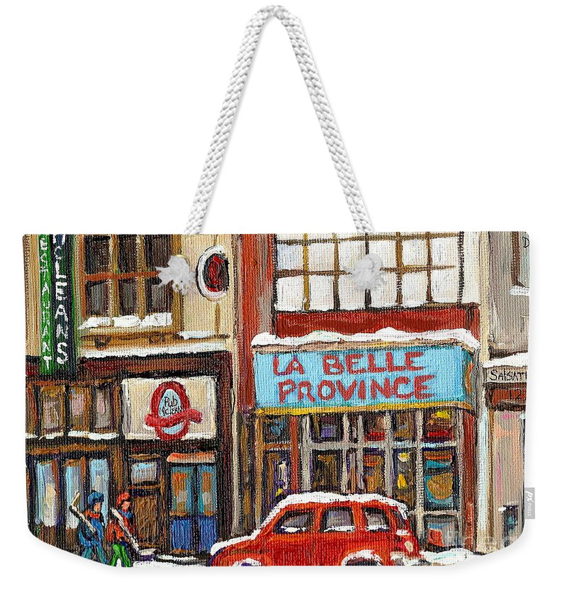 Montreal Weekender Tote Bag featuring the painting Mcleans Irish Pub Montreal by Carole Spandau