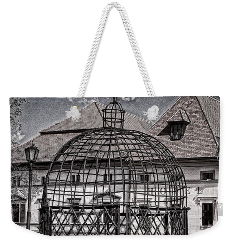 Cage Weekender Tote Bag featuring the photograph Medieval Cage Of Shame by Les Palenik