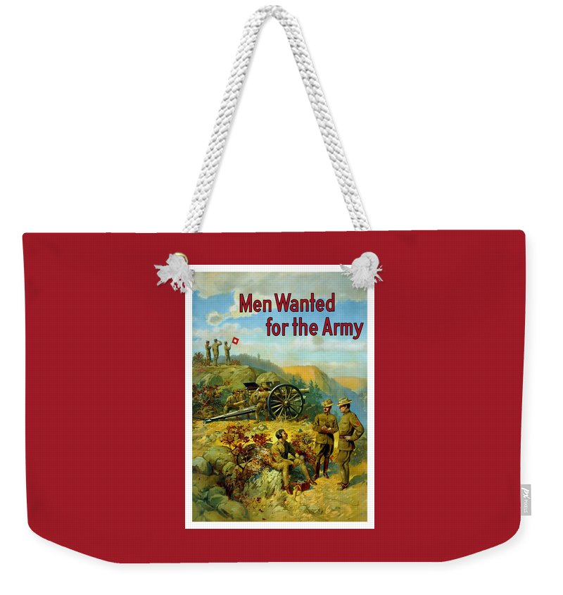 Army Weekender Tote Bag featuring the painting Men Wanted For The Army by War Is Hell Store