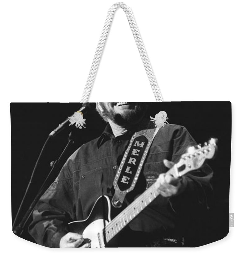 Country Music Weekender Tote Bag featuring the photograph Merle Haggard by Concert Photos