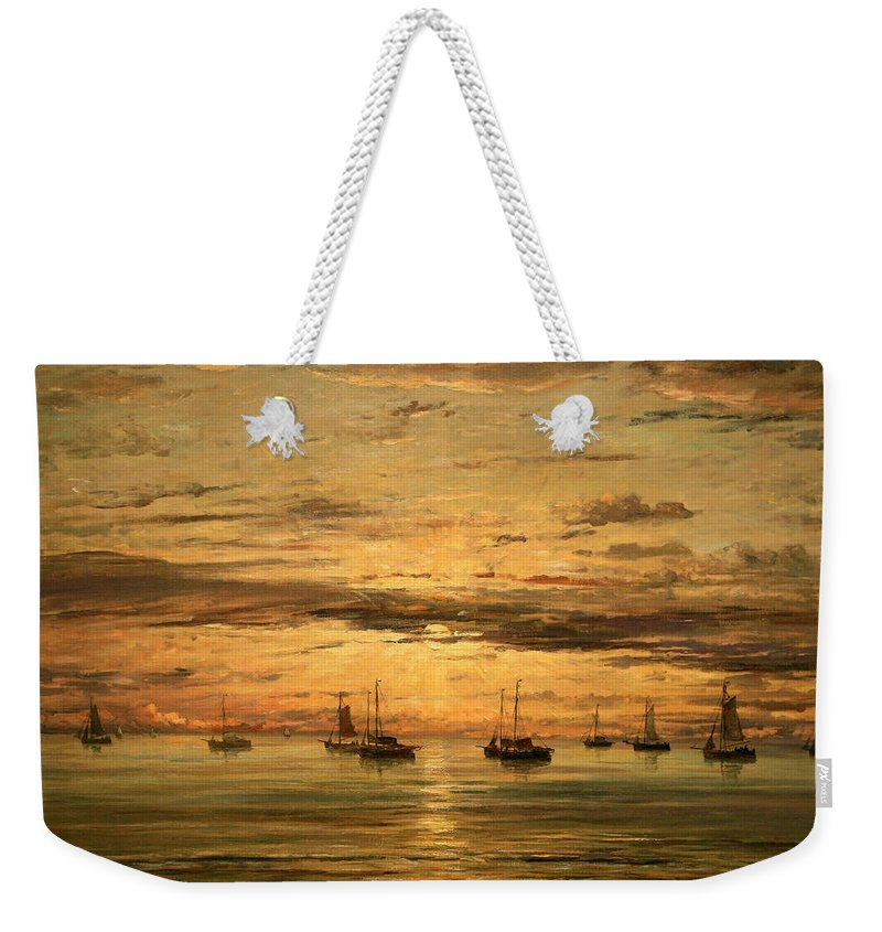Sunset At Scheveningen Weekender Tote Bag featuring the photograph Mesdag's Sunset At Scheveningen -- A Fleet Of Shipping Vessels At Anchor by Cora Wandel