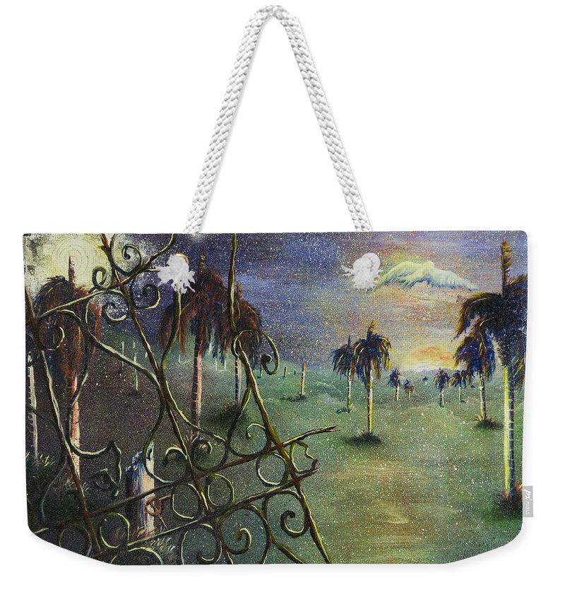 Landscape Weekender Tote Bag featuring the painting Metamorfosis De Palmas by Ruben Santos