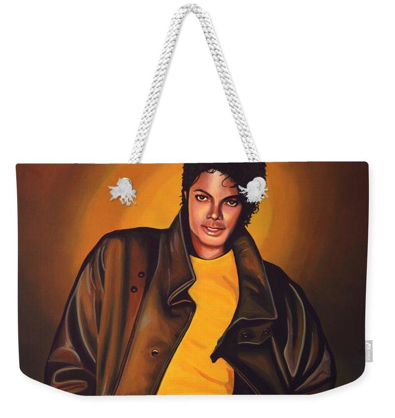 Michael Jackson Weekender Tote Bag featuring the painting Michael Jackson by Paul Meijering