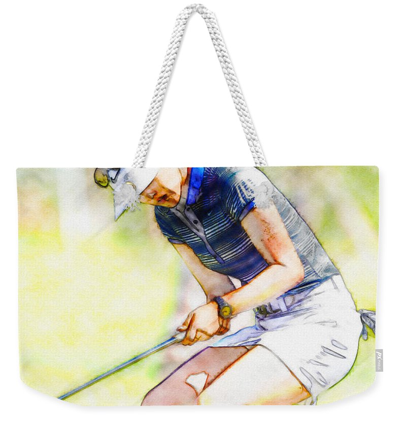 Illustration Weekender Tote Bag featuring the digital art Michelle Wie Reacts After Missing A Putt On The 15th Hole by Don Kuing