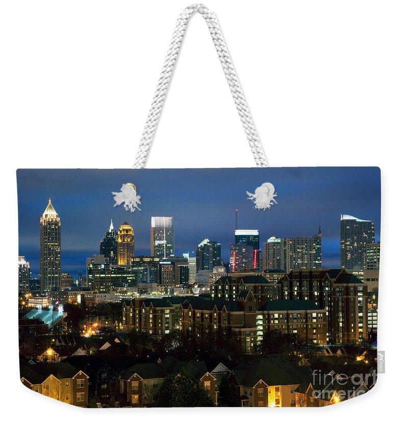 Atlanta Weekender Tote Bag featuring the photograph Midtown Atlanta Skyline At Dusk by Bill Cobb