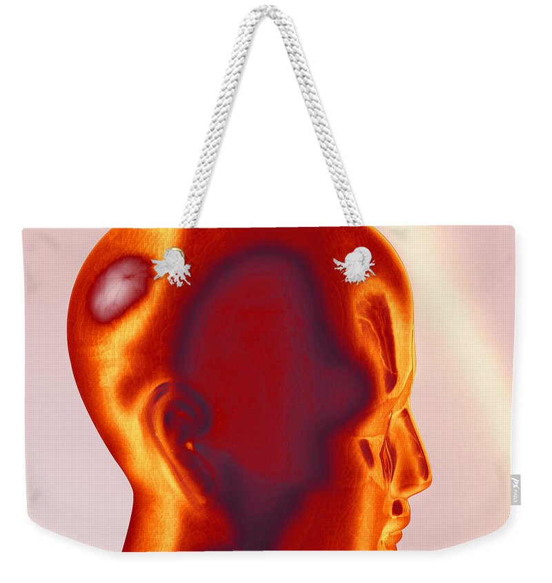People Weekender Tote Bag featuring the photograph Model Of A Human Head In Profile by Photo Researchers, Inc.