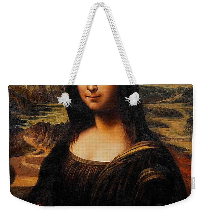 Mona Paintings Weekender Tote Bag featuring the mixed media Mona Lisa by Marvin Blaine