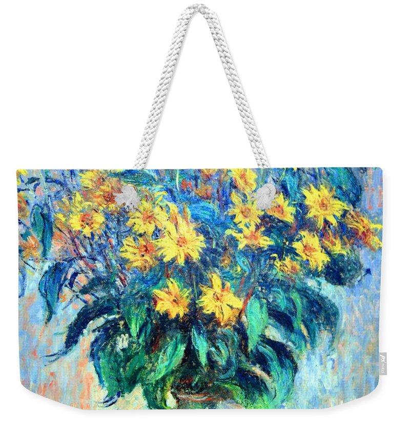Jerusalem Artichoke Flowers Weekender Tote Bag featuring the photograph Monet's Jerusalem Artichoke Flowers by Cora Wandel