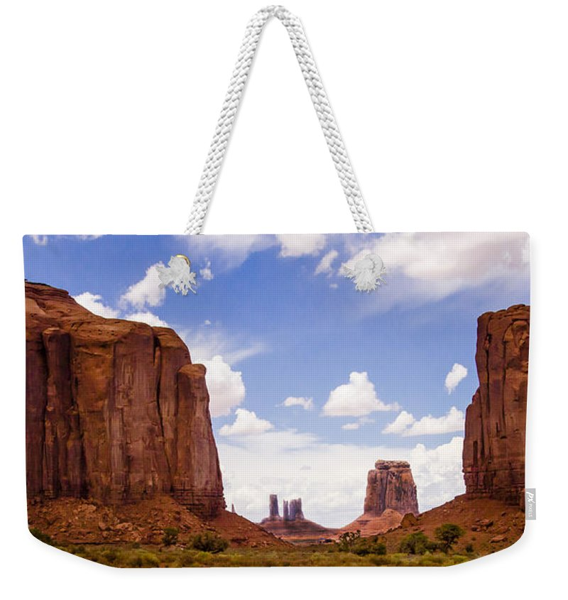 Landscape Weekender Tote Bag featuring the photograph Monument Valley - Arizona by Jon Berghoff