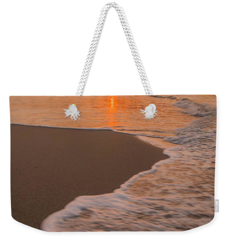 Backgrounds Weekender Tote Bag featuring the photograph morning at Myrtle Beach South Carolina by Alex Grichenko