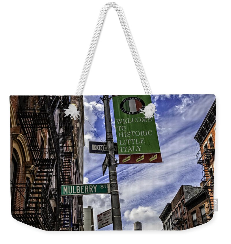 Mulberry St Weekender Tote Bag featuring the photograph Mulberry St - Nyc by Madeline Ellis
