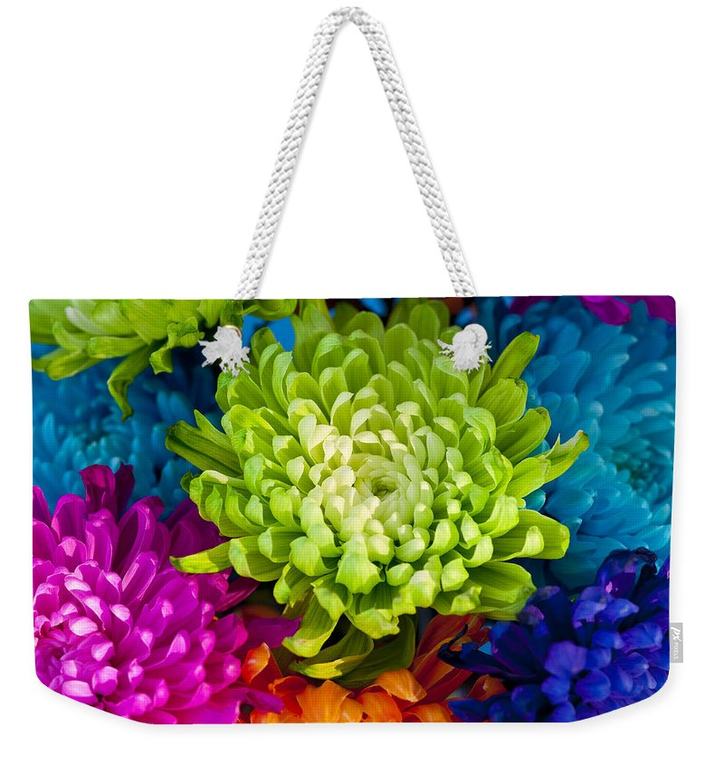 Blossom Weekender Tote Bag featuring the photograph Multicolored Chrysanthemums by Jim Corwin