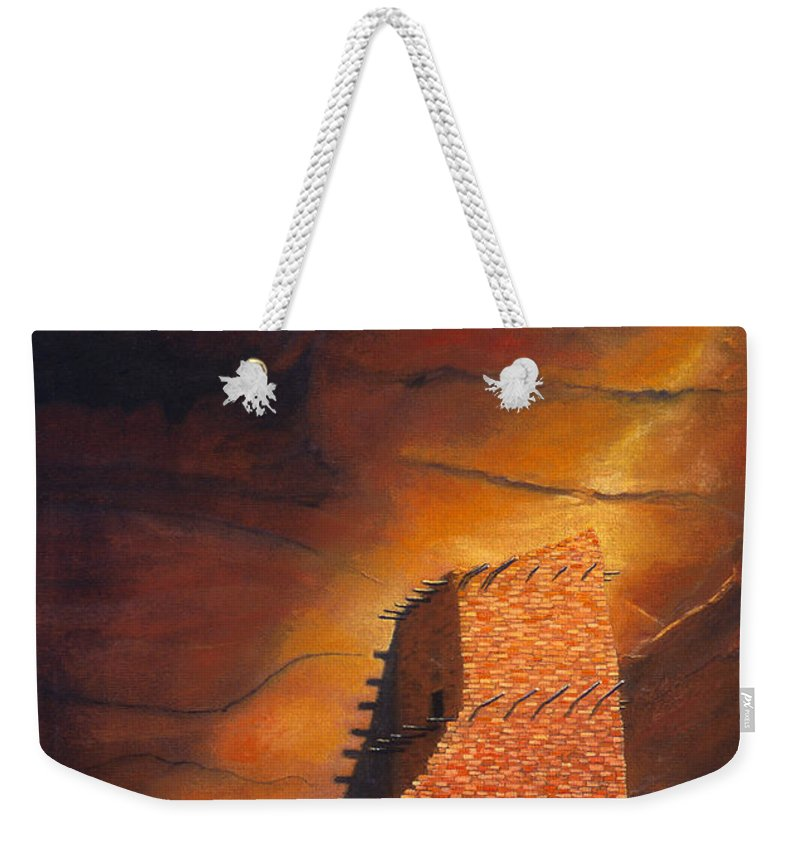 Mummy Cave Ruins Weekender Tote Bag featuring the painting Mummy Cave Ruins by Jerry McElroy