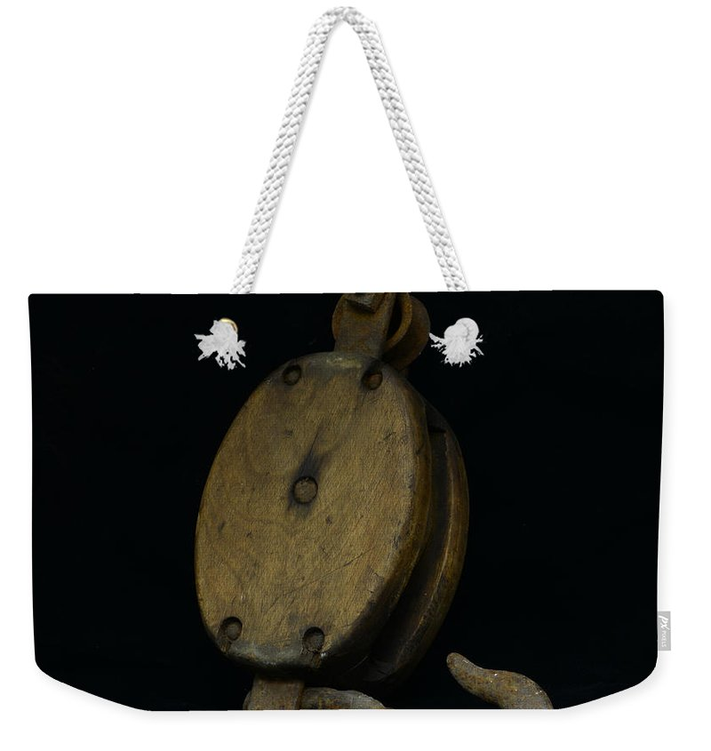 Paul Ward Weekender Tote Bag featuring the photograph Nautical - Boat Block And Tackle by Paul Ward