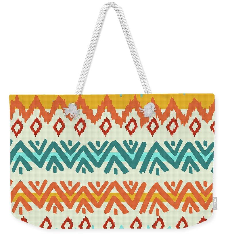 Navajo Weekender Tote Bag featuring the digital art Navajo Mission Round by Nicholas Biscardi