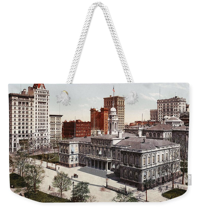 New York City Hall 1900 Weekender Tote Bag featuring the digital art New York City Hall 1900 by Unknown