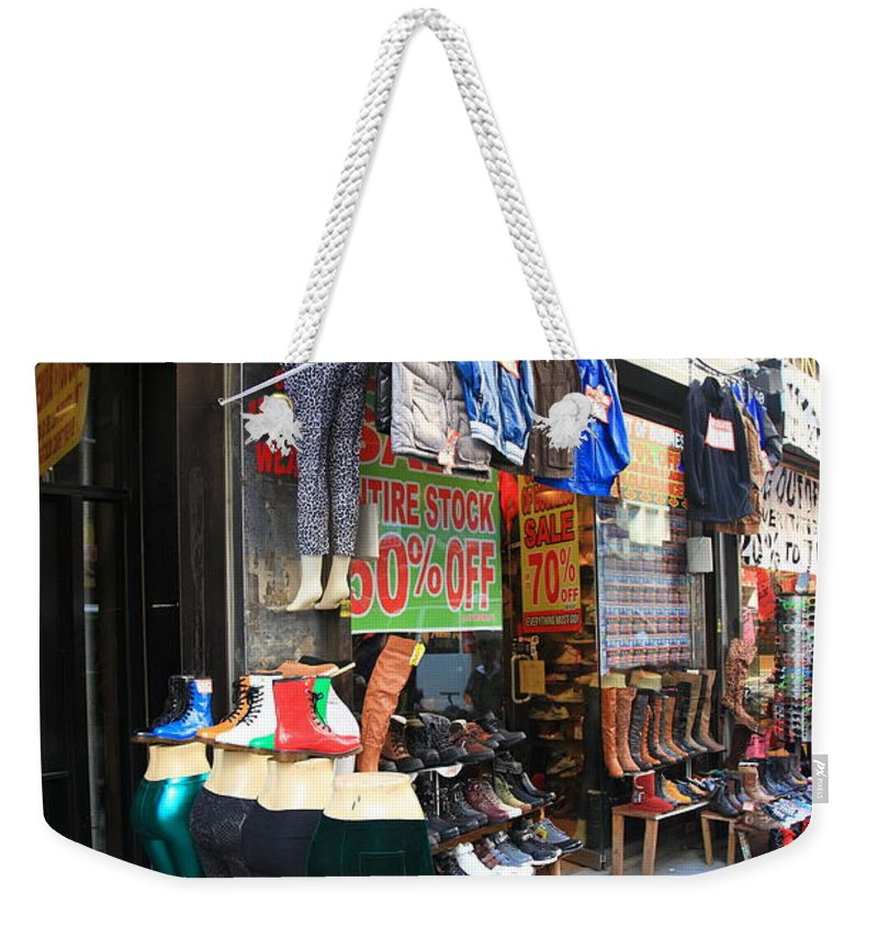 America Weekender Tote Bag featuring the photograph New York City Storefront 8 by Frank Romeo