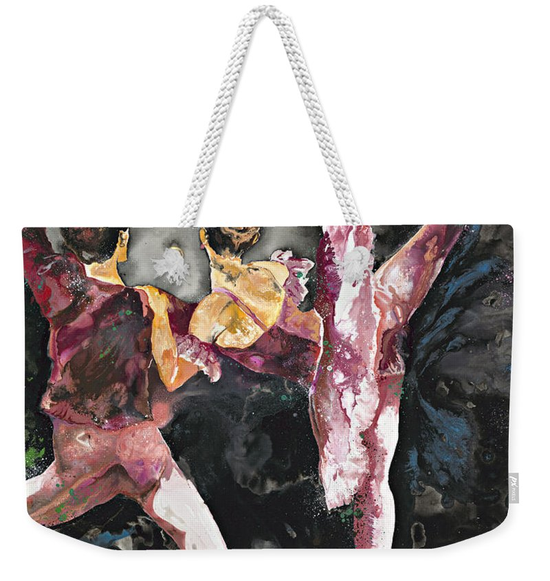 Ballerina Weekender Tote Bag featuring the painting Nutcracker Duet by Kasha Ritter