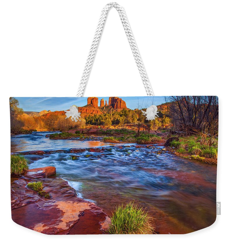 Oak Creek Weekender Tote Bag featuring the photograph Oak Creek by Diana Powell
