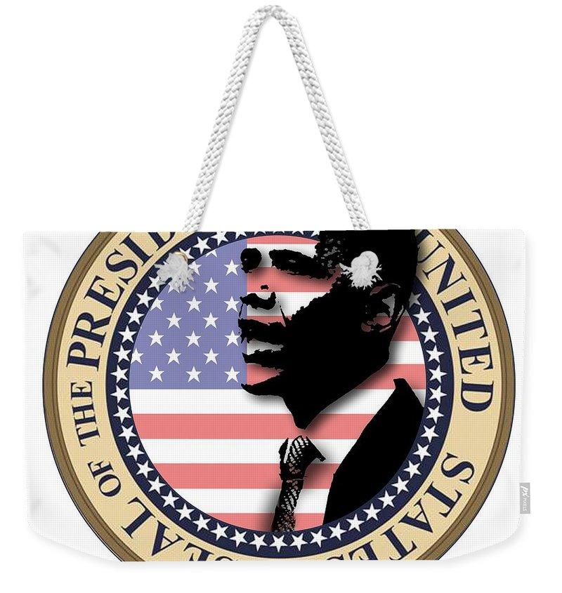 Obama Weekender Tote Bag featuring the digital art Obama-1 by Chris Van Es