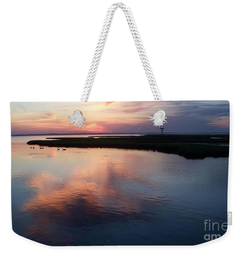 Landscape Weekender Tote Bag featuring the painting Ocean City Md by Eric Schiabor