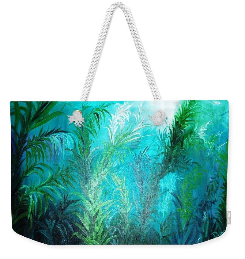 Ocean Weekender Tote Bag featuring the painting Ocean Plants by Rupa Prakash
