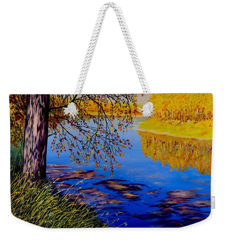 Blue Tone Weekender Tote Bag featuring the painting October Afternoon by Sher Nasser