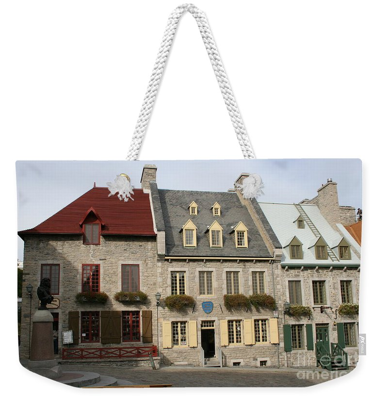 Old Town Weekender Tote Bag featuring the photograph Place Royale - Old Town Quebec - Canada by Christiane Schulze Art And Photography