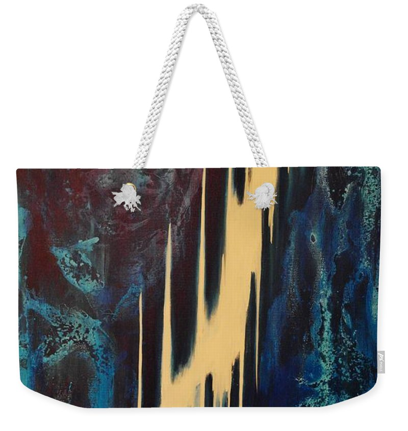 Abstract Weekender Tote Bag featuring the painting Only One Way by Wayne Cantrell