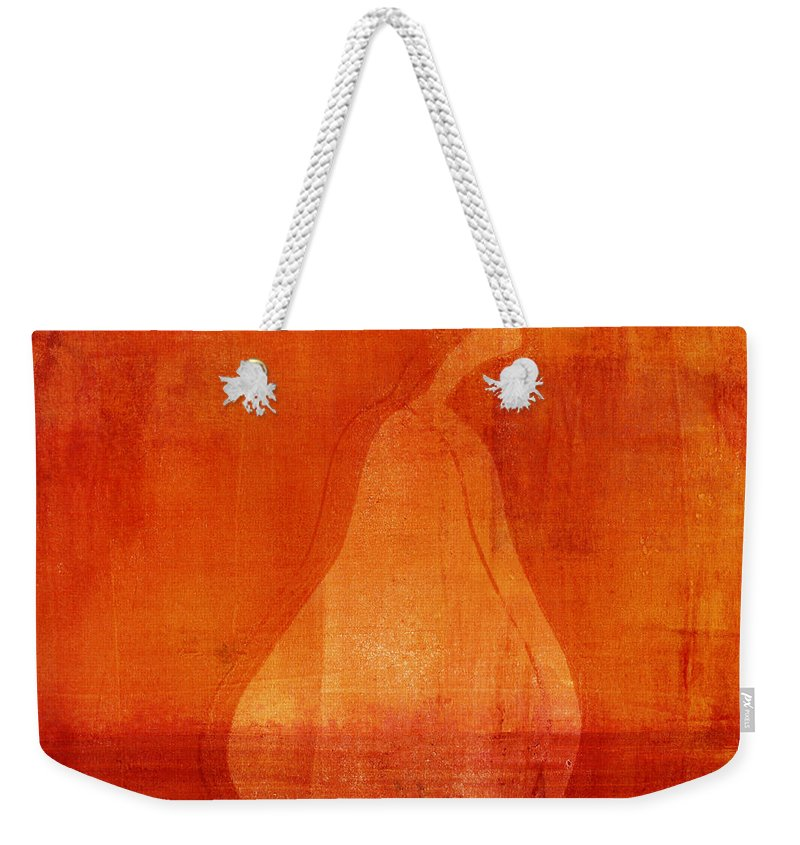 Pear Weekender Tote Bag featuring the mixed media Orange Pear Monoprint 1 by Carol Leigh