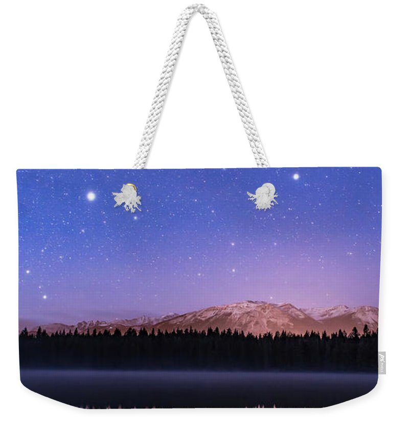Alberta Weekender Tote Bag featuring the photograph Orion Over Lake Annette by Alan Dyer