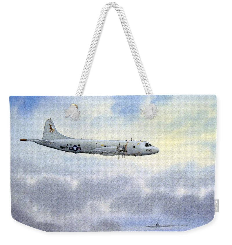 Aircraft Paintings Weekender Tote Bag featuring the painting P-3 Orion by Bill Holkham