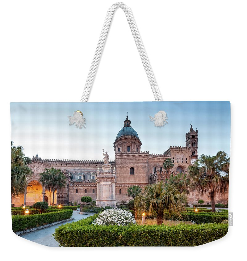 Saturated Color Weekender Tote Bag featuring the photograph Palermo Cathedral At Dusk, Sicily Italy by Romaoslo