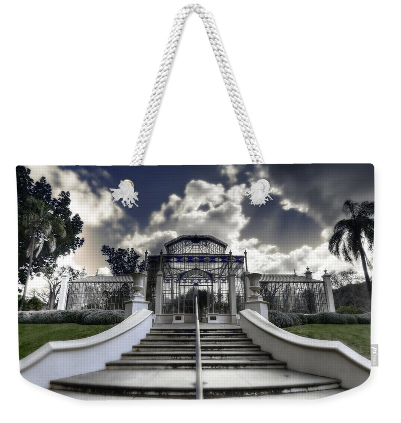 Palms Weekender Tote Bag featuring the photograph Palm House by Wayne Sherriff