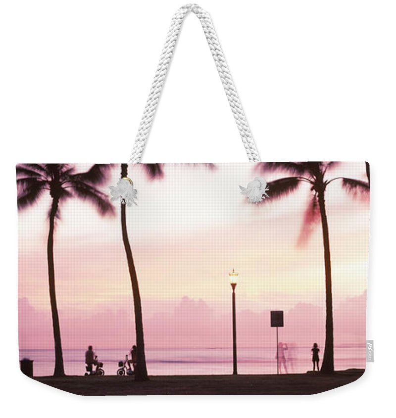 Photography Weekender Tote Bag featuring the photograph Palm Trees On The Beach, Waikiki by Panoramic Images