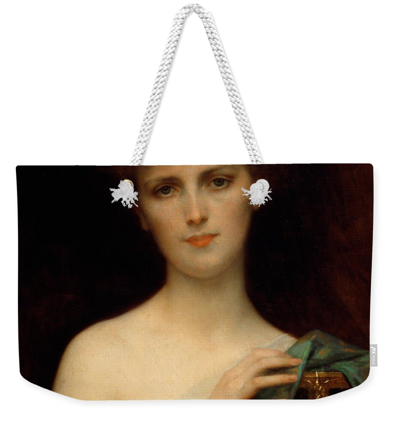 3b7fb2f16449 Pandora Weekender Tote Bag featuring the painting Pandora by Alexandre  Cabanel