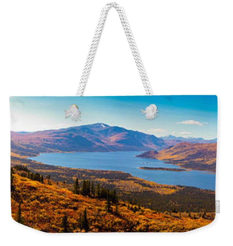 Adventure Weekender Tote Bag featuring the photograph Panorama Of Fish Lake Yukon Territory Canada by Stephan Pietzko