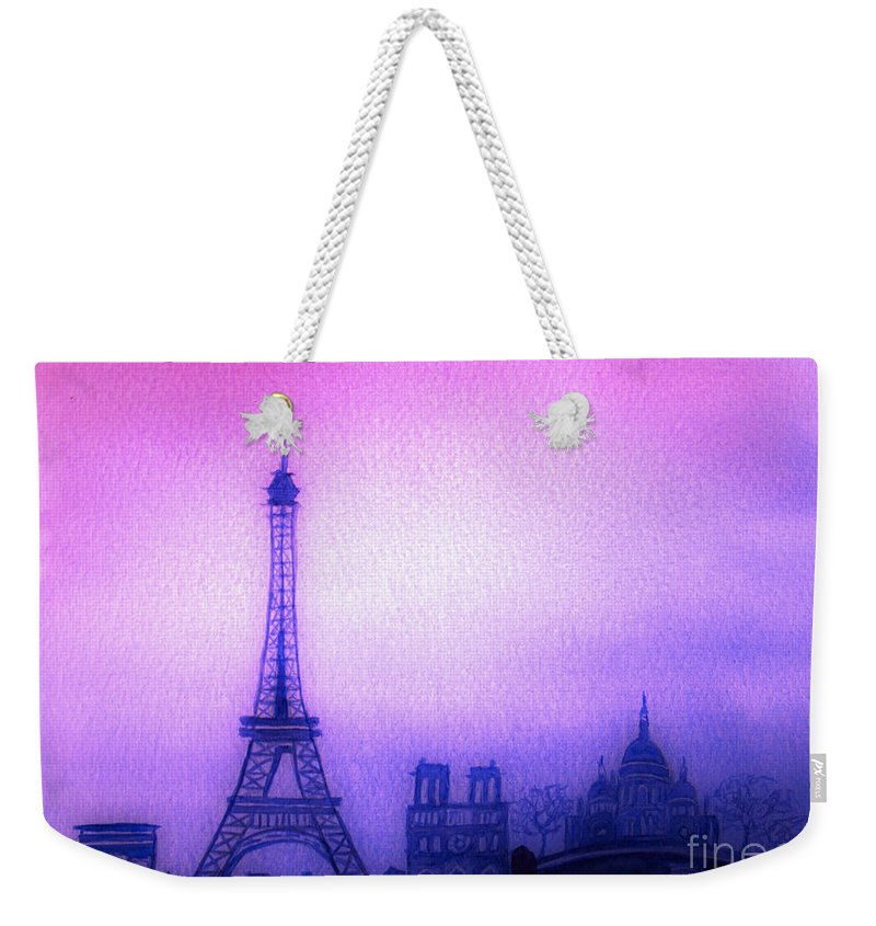 Europe Weekender Tote Bag featuring the painting Paris Skyline by Donna Walsh