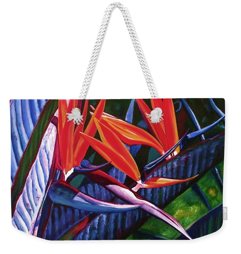 Bird Of Paradise Weekender Tote Bag featuring the painting Passion For Paradise by Marionette Taboniar