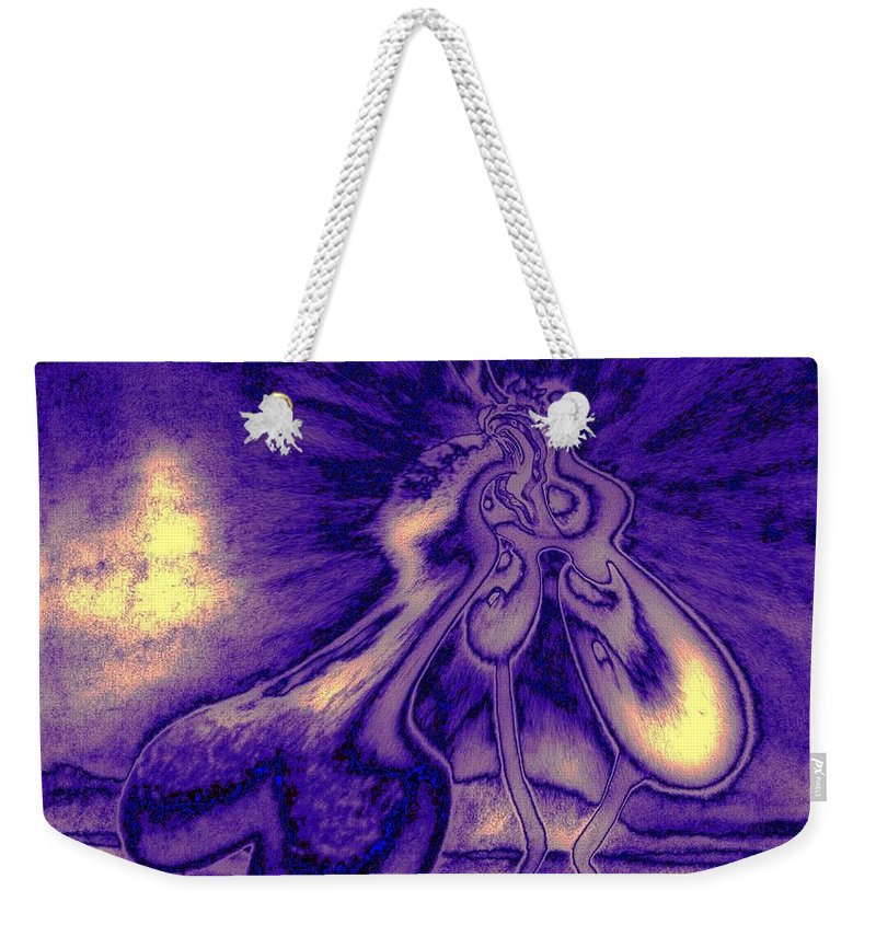 Genio Weekender Tote Bag featuring the mixed media Passion In The Night by Genio GgXpress